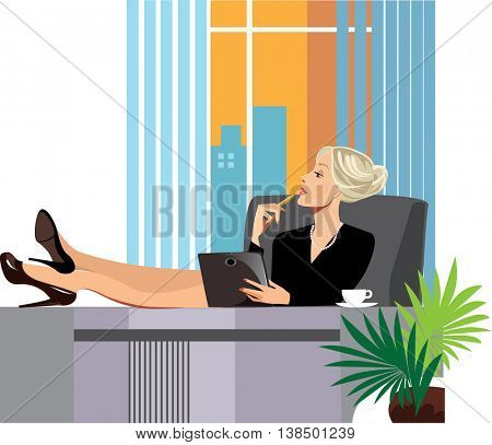 tired woman in the office, resting his feet on the table
