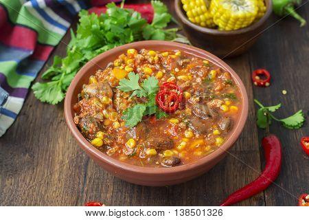 Chili con carne. Traditional Mexican dish .