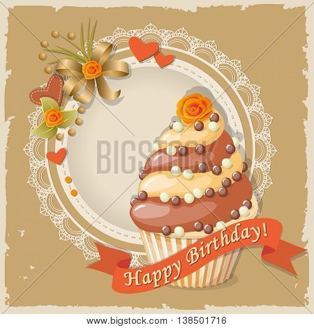 Festive colorful scrapbooking card with birthday cake on the vintage background. eps10.