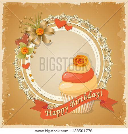 Festive colorful scrapbooking card with birthday cake and rose on the vintage background. eps10.