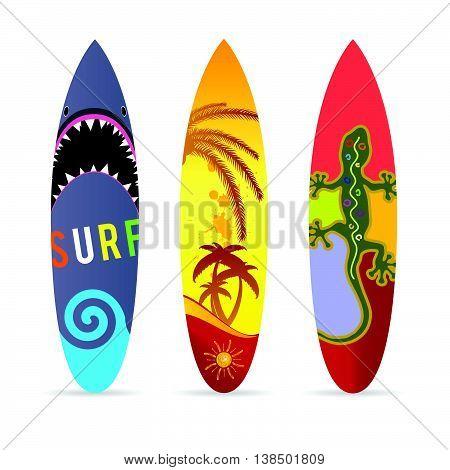 Surf Board Set In Various Color Illustration