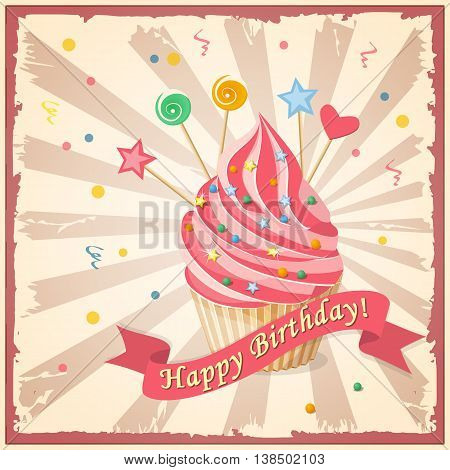 Festive colorful birthday card on the craft paper with cake candy hearts and ribbon on the vintage background. eps10.
