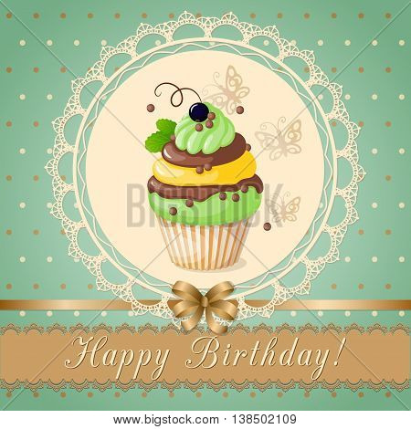 Festive colorful scrapbooking card with text Happy Birthday cake on the vintage background. eps10.