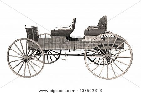 Old weathered buggy on a white background