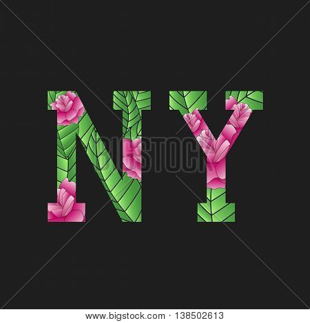 NY letters. Floral pattern in the letters. Vector
