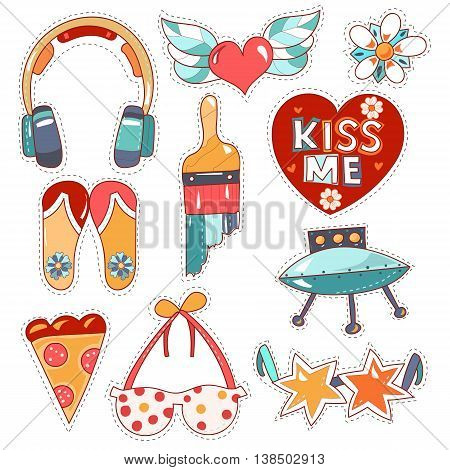 Set cartoon patch badges or fashion pin badges.Earphones, heart, wings, kiss, brush, points, sun glasses, bra, flip flop hand drawn vector full color sketch.