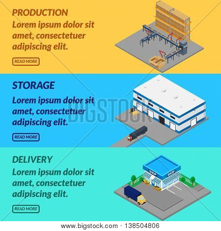 Vector illustration. Web banner production. Belt conveyor storage delivery to the store. Isometric 3D.