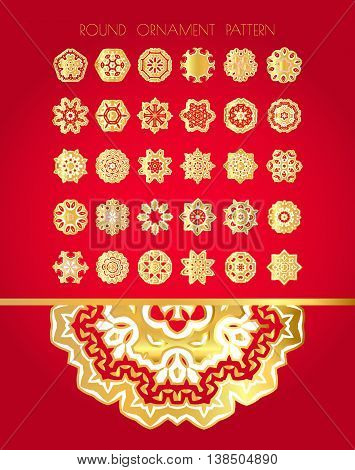 Set Of Gold Textured Snowflakes.
