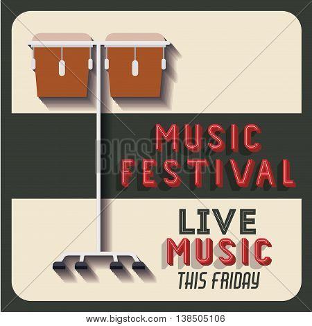 retro music festival poster isolated icon design, vector illustration  graphic