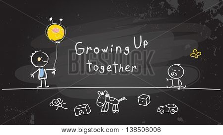 Growing up conceptual vector illustration. Kids playing together, chalk on blackboard doodle style hand drawn drawing.