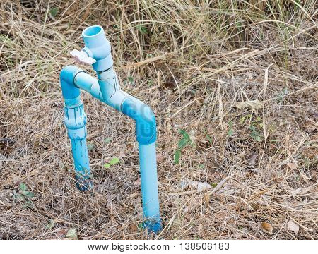 PVC pipe set with plastic valve for ready to recive the water from the rural waterworks.