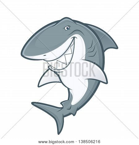 Clipart picture of a white shark cartoon mascot character