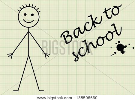 Back to school message on graph paper background with copy space for own text