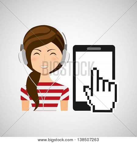girl playing music on phone icon, vector illustration