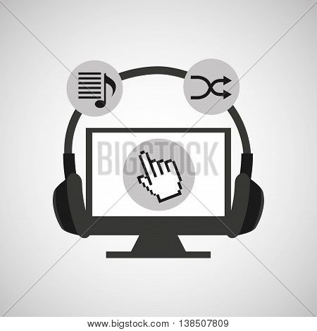 headphone on a laptop listening music, vector