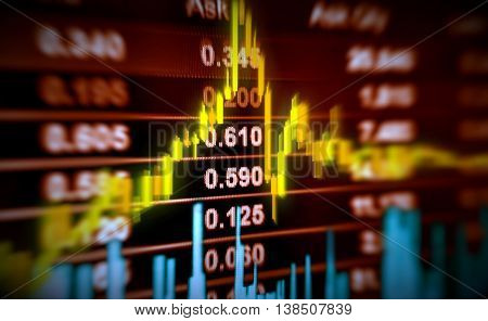 3D illustration stock price and chart movement