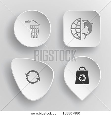 4 images: bin, globe and shamoo, recycle symbol, bag. Nature set. White concave buttons on gray background. Vector icons.
