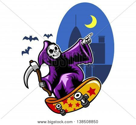 Vector illustration of grim skating on black city night