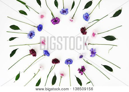 Pattern With Petals Of Wildflowers On White Background.
