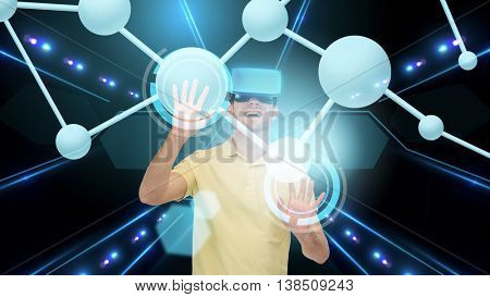 3d technology, virtual reality, cyberspace, science and people concept - happy man with virtual reality headset or 3d glasses touching projection of molecule over black background and laser light