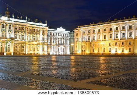 View of Palace Square at night in St.Petersburg Russia.