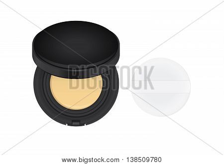 Makeup powder brown color in black powder case which opened and powder puff with ribbon.