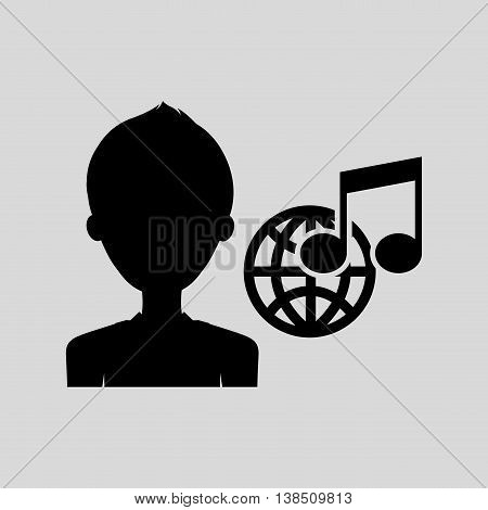 mouse pointing on music note icon, vector