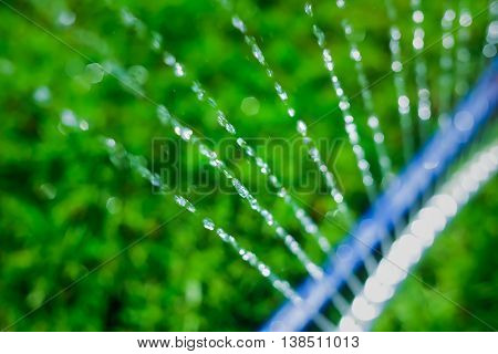 Lawn sprinkler spaying water over green grass. Motion blur. Select focus.