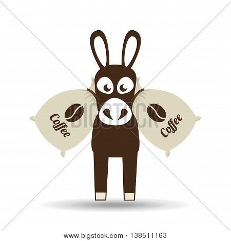 donkey and coffee bean icon, vector illustration
