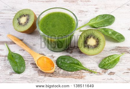 Cocktail From Spinach And Kiwi With Honey On Old Wooden Background, Healthy Nutrition
