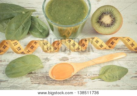 Vintage Photo, Ingredients, Fresh Cocktail From Spinach And Centimeter, Healthy Nutrition And Slimmi