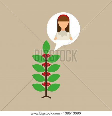 colombian farmer coffee bean icon, vector illustration