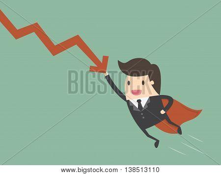 Super businessman stop the falling down chart. Business concept cartoon illustration