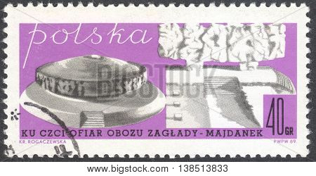 MOSCOW RUSSIA - CIRCA JANUARY 2016: a post stamp printed in POLAND shows Majdanek memorial circa 1969