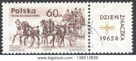 MOSCOW RUSSIA - CIRCA JANUARY 2016: a post stamp printed in POLAND shows a stage mail coach the series