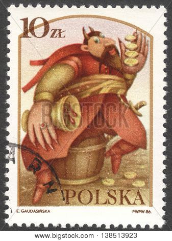 MOSCOW RUSSIA - CIRCA FEBRUARY 2016: a post stamp printed in POLAND shows the Devil Boruta the series