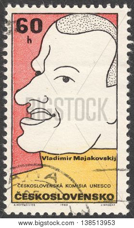 MOSCOW RUSSIA - CIRCA FEBRUARY 2016: a post stamp printed in CZECHOSLOVAKIA shows a portrait of V.Mayakovsky the series