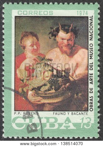 MOSCOW, RUSSIA - CIRCA FEBRUARY, 2016: a post stamp printed in CUBA shows painting by Rubens, the series
