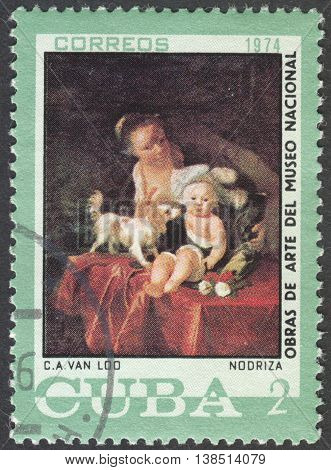 MOSCOW, RUSSIA - CIRCA FEBRUARY, 2016: a post stamp printed in CUBA shows painting by Van Loo, the series