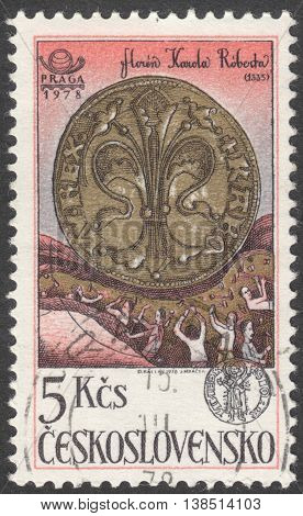 MOSCOW RUSSIA - CIRCA FEBRUARY 2016: a post stamp printed in CZECHOSLOVAKIA shows a coin Gold Florin the series