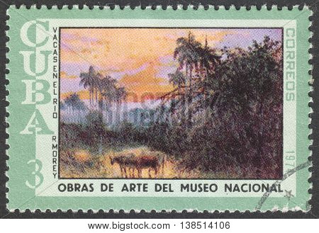 MOSCOW, RUSSIA - CIRCA FEBRUARY, 2016: a post stamp printed in CUBA shows painting by R. Morey, the series