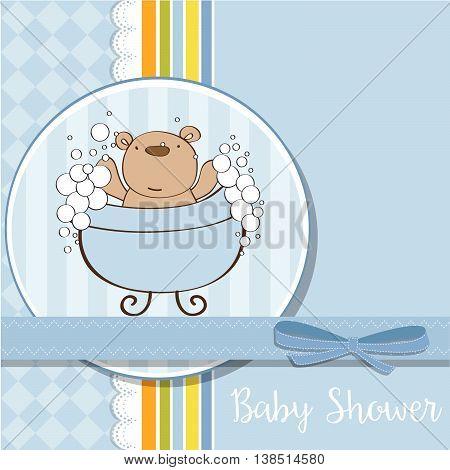 Baby Boy Shower Card With Little  Teddy Bear