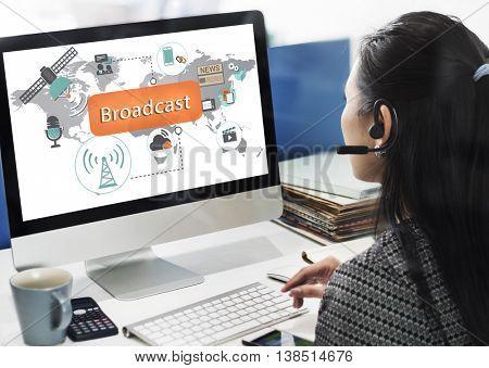 Broadcast Communication Entertainment News Concept