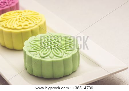 Snowy skin mooncakes. Traditional Chinese mid autumn festival food.