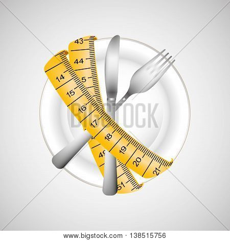 plate and cutlery surrounded by tape measure, healthy life style, vector illustration