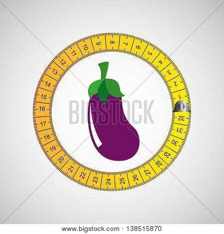 eggplant surrounded by tape measure, healthy life style, vector illustration