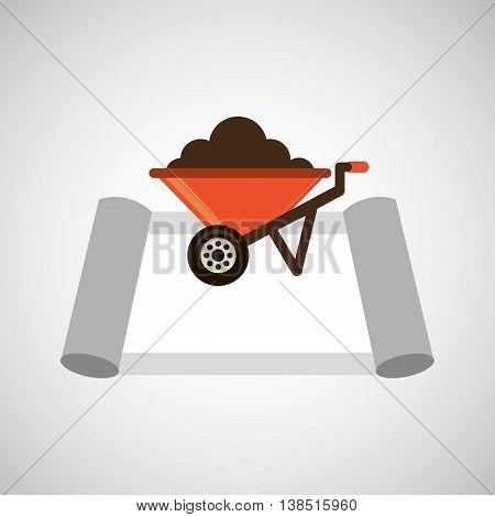 Wheelbarrow construction and architecture icon, vector illustration