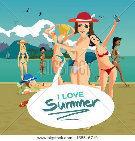 Beautiful woman in bikini at the seaside. Group of women bathing and sunning on the beach. Vector flat cartoon illustration