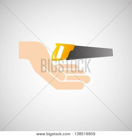 hand holding construction tool Coping saw, vector illustration
