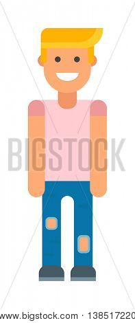 Blonde man vector illustration.